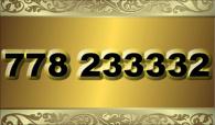 zlaté  číslo - 778 233332