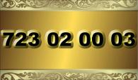 zlaté  číslo - 723 02 00 03  - O2